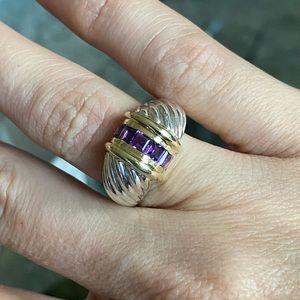 David Yurman faceted amethyst ring
